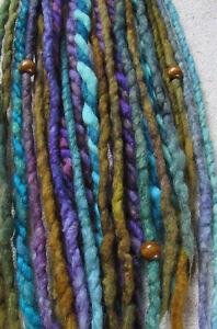 Clip In Dreads Blue Purple Green Felted Dreadlocks Wool Felt Festival Bohemian