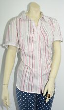 Lane Bryant Button Up Blouse White w/ Pink Stripes Size 18 Short Sleeve Business