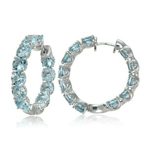 Sterling Silver Blue Topaz 28mm Hoop Earrings