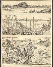 JAPON JAPAN NIPPON INONDATIONS DE TOKYO FLOODS ARTICLE PRESSE DE DAUTREMER 1910