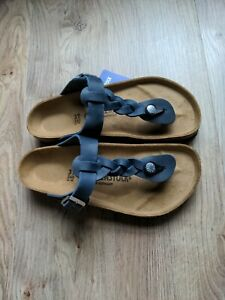 Birkenstock Braided Oiled Blue Leather Gizeh Sandals EU 37 Womens 6-6.5 Navy