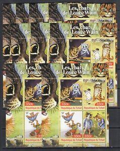 Louis Wain Cats Golf Painting Arts 2004 Chad MNH 4 v set perf X 10 Wholesale lot