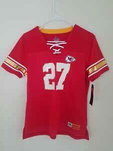 New Women's Majestic NFL Kansas City Chiefs #27 Kareem Hunt V-Neck Jersey Shirt