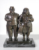 ⚜️ SCULTURA FIRMATA BOTERO COPPIA SPOSI BRONZO STATUA MARRIED COUPLE SCULPTURE