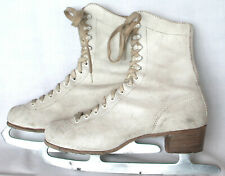 1950s Canadian Flyer Womens White Leather Ice Skates Holiday Xmas Decor USA VGC