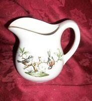 """Vintage Birds Pottery Pitcher Signed USA 5""""H X 5 1/2""""D"""