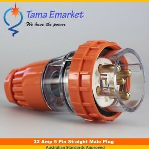 32 Amp Straight Male Plug 5 Pin 3 Phase 32A Industrial Electrical