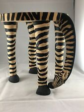 Grazing zebra stool ,Small Table, Kenya, From Ten Thousand Villages. Wood Carved