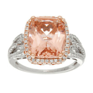 New Qvc Diamonique and Simulated Morganite Ring, Sterling Size 10 $162