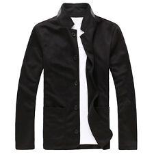 Men's Stand Collar Coat Slim Fit Suit Button Jacket Overcoat Blazers Tops Cool