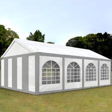 Partyzelt Pavillon 4x8m Bierzelt Festzelt Gartenzelt Vereinszelt Zelt grau-weiß