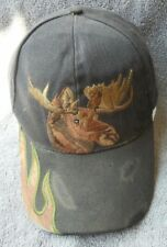 Moose Hunters Hat Cap Vintage Distressed with side flame on Bill Strapback