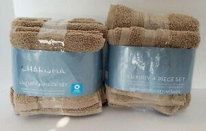 Charisma Luxury 7-Piece Hand Towel-Washcloth Set Tan 100% Hygro-Cotton