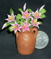 Potted Cut Tiger Lilies Pink 1:12 Miniature Flower Market P-OH-Lily 3505 Florist