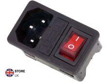 AC 250V 10A 3 Pins IEC C14 Computer Socket + Fuse Holder + Rocker Switch On-Off