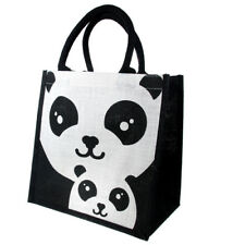 PANDA JUTE SHOPPING BAG black & white mum & baby fair trade eco shopper NEW!
