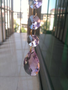 12Pcs Crystal Chandelier Pink Hanging Teardrop Prism Glass Pendants Bead