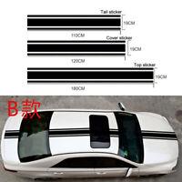 3x Black Car Racing Stripe Sticker Vinyl Body Hood Roof Trunk Sticker Decal DIY