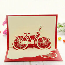 3D Pop up Handmade Handcrafted Greeting Cards Bicycle Birthday Kirigami Gift