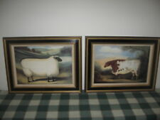 Pair Framed Alexandra Churchill Naive Prints on Wood Cotswold Sheep & Durham Cow