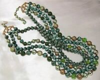 Vintage Hong Kong Stunning Green Marbled 4 Strand Bib Necklace