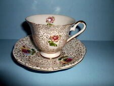 Vintage RED ROSES Made in Japan BONE CHINA Tea CUP &SAUCER~Gold Chintz/Trim~Nice