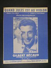 Partition alt partitur sheet music = Gilbert Bécaud - Quand Jules est au violon