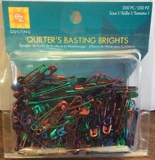 EZ QUILTING BASTING BRIGHT PINS-200 PIECE METALLIC-SIZE 1 AMODIZED SAFETY PINS