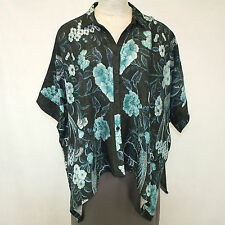 NEW Dressori Plus Size Floral Roses Cape Shirt 100% Silk Cloque Blouse 2X