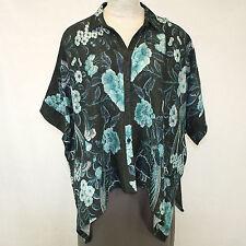 NEW NWT Dressori Plus Size Floral Roses Cape Shirt 100% Silk Cloque Blouse 3X