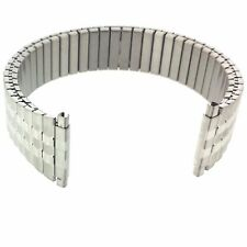 XL Watch Band Expansion Metal Stretch Silver Color Straight Ends Fits 16mm to 22