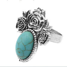 Rose Flower Carved Oval Turquoise Inlay Tibetan Silver Ring Adjustable Size