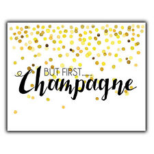 But First Champagne Metal Plaque Wall Sign Funny Humorous quote kitchen home bar