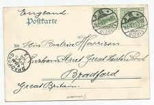 GERMANY 1904 Hexentanzplatz POSTCARD WITH TWO 5pf TO ENGLAND REF 564