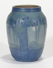 Newcomb College Pottery Moon & Moss Landscape vase Arts & Craft matte blue green