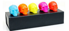 D.L & CO SKULL GIFT SET OF 5 BRIGHT CANDLES NEW ON SALE