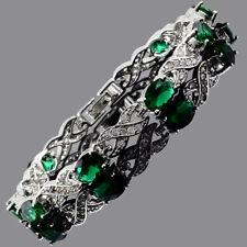"6mmx8mm Oval Green Emerald Cubic Zirconia CZ Tennis Bracelet Chain Gift 7.5""+1"""