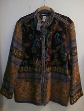 Sag Harbour Womens Tapestry Jacket, Multi-colored floral NWT, size 16
