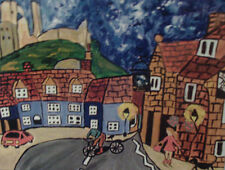 "Fridge Magnet,Corfe Castle and the cyclist large  4.25"" by 5.5"""