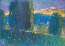 Evening in the park pastel Graphic art by Sergey Avdeev original drawing Russia
