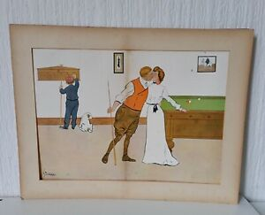 VINTAGE EARLY 20TH CENTURY L THACKERAY BILLIARD PRINT KISSED