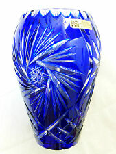 """Bohemia Lead Crystal Hand Cut Blue Vase, Made in Germany, 7.75"""" tall"""