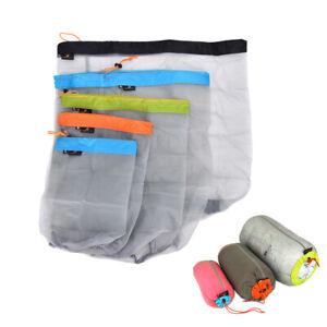1PC Outdoor Bag Ultralight Mesh Stuff Sack Camping SporOD^BI