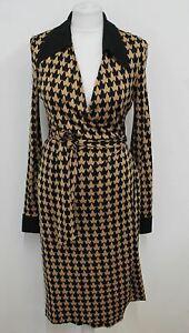 DIANE VON FURSTENBERG Ladies Beige/Black Silk 'Billy Jean' Wrap Dress US12 UK16