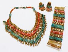 VTG Blue Ceramic & Coral Tube Beads Charms Necklce Bracelet clip Earrings set