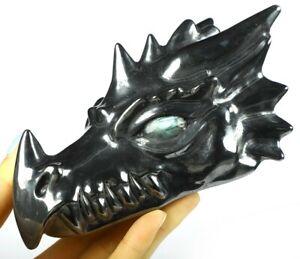 "NEW 5.9"" HEMATITE Carved Crystal Dragon Skull with Tiger Eye Eyes"