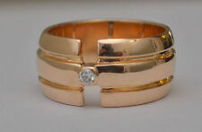 12 k Solid Yellow Gold Diamond  Band Ring Wide  Size 8  10 mm 11.2 g