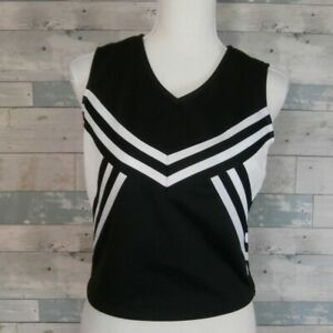Chasse Cheer Cheerleading Top Black with White Trim Adult S -New NWT - F11