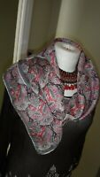 """Vintage Satin 100% Silk DFDS Seaways Hand Rolled Square Scarf 31"""" Made In Italy"""