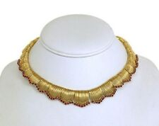 TIFFANY & CO 18K YELLOW GOLD & 6 CTS RUBIES LADIES CHOKER NECKLACE 13 3/4 in